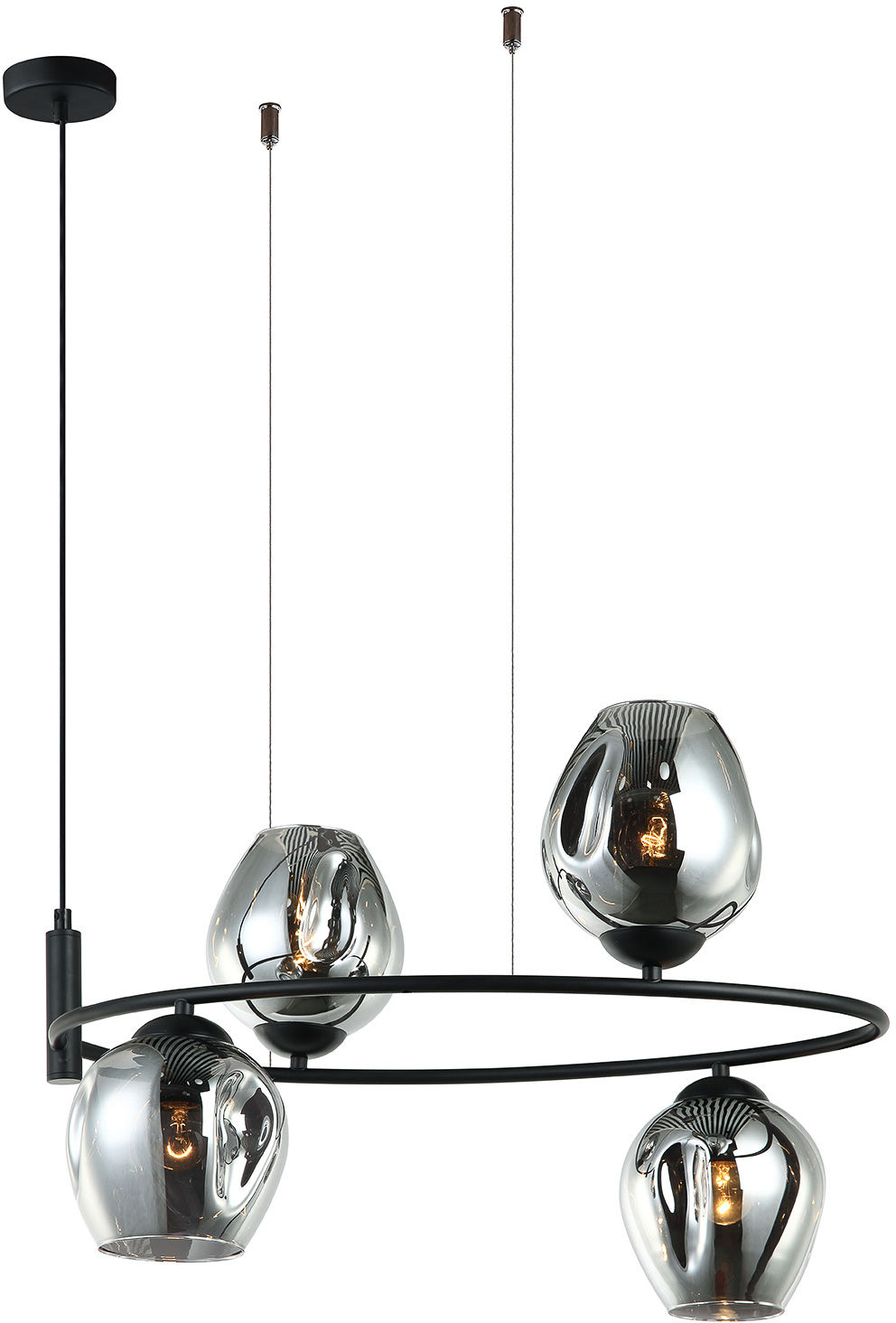 Italux lampa wisząca Roxane MDM-4046-4 BK+SG czarna szklane grafitowe klosze 60cm
