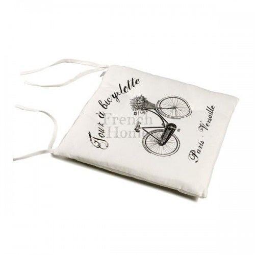 Poduszka na krzesło styl francuski BICYCLETTE biała