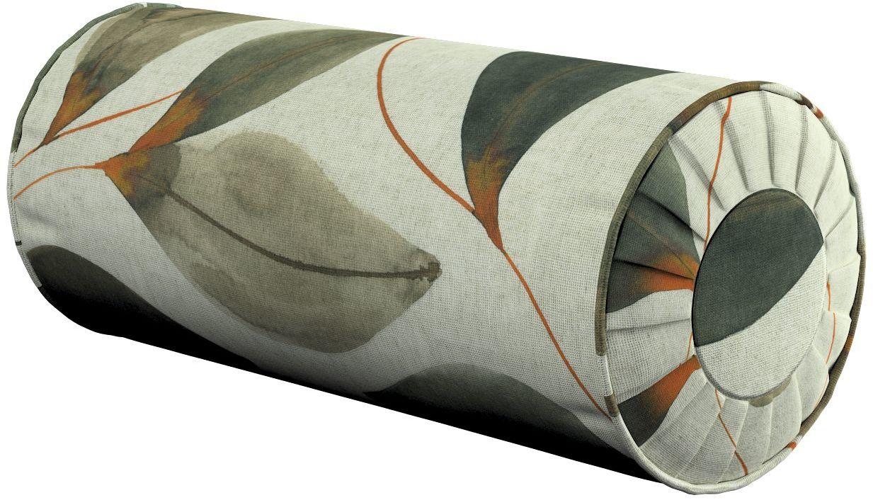 Poduszka wałek z zakładkami, brązowo-pomarańczowe liście na szarym lnianym tle, Ø20  50 cm, Abigail