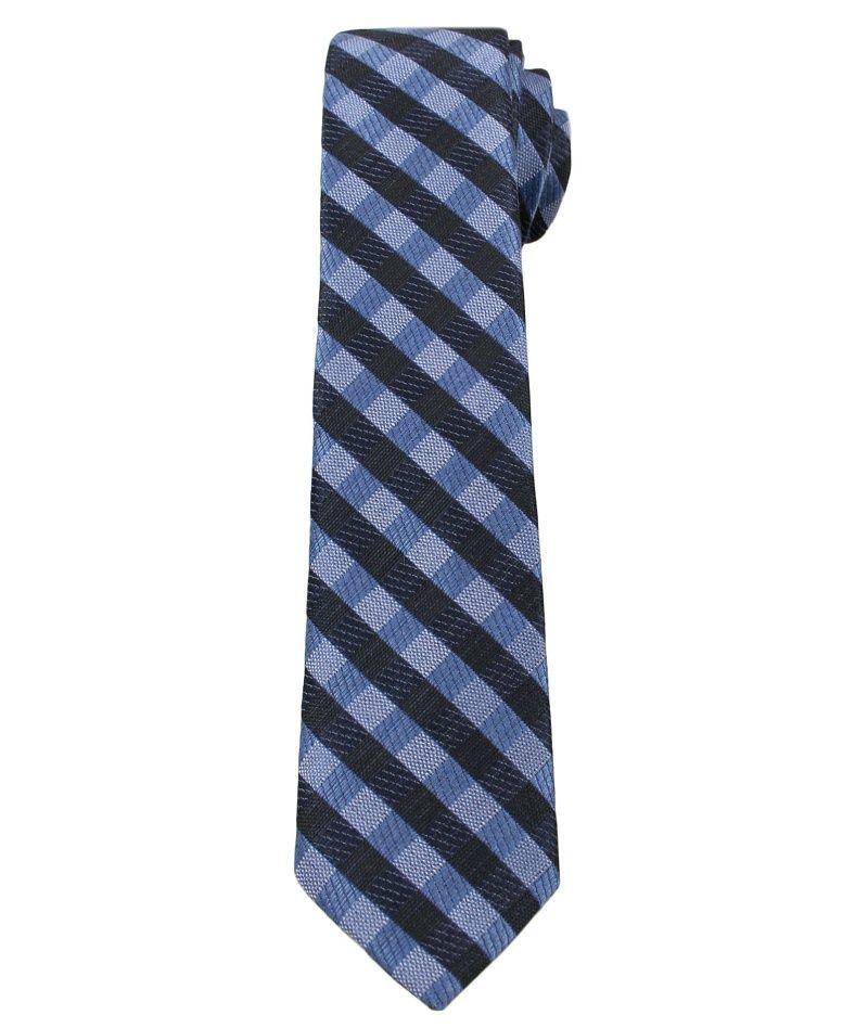 Granatowo-Niebieski Elegancki Krawat Męski -ALTIES- 6 cm, w Kratkę KRALTS0247