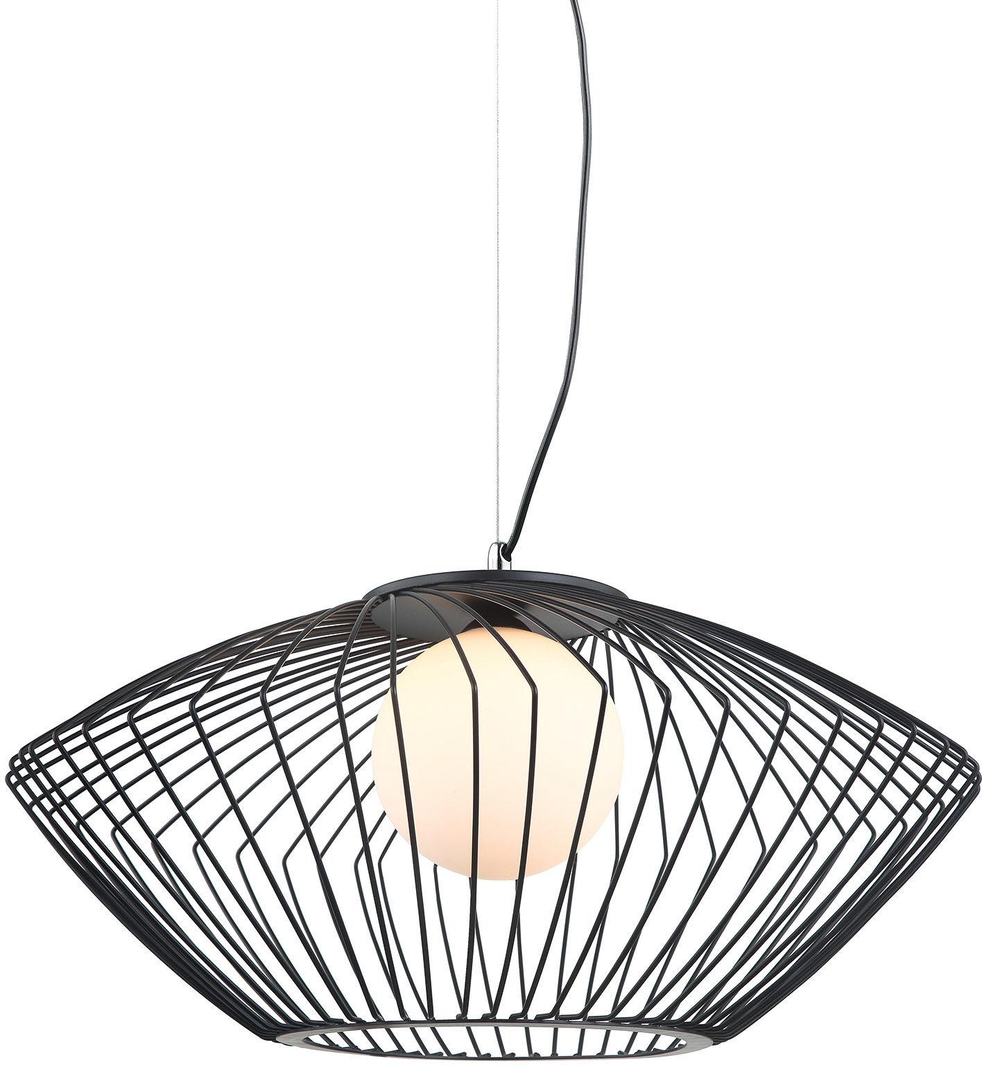 Italux lampa wisząca Zeno MDM-3844-1 BK czarna druciana z szklanym kloszem 52cm