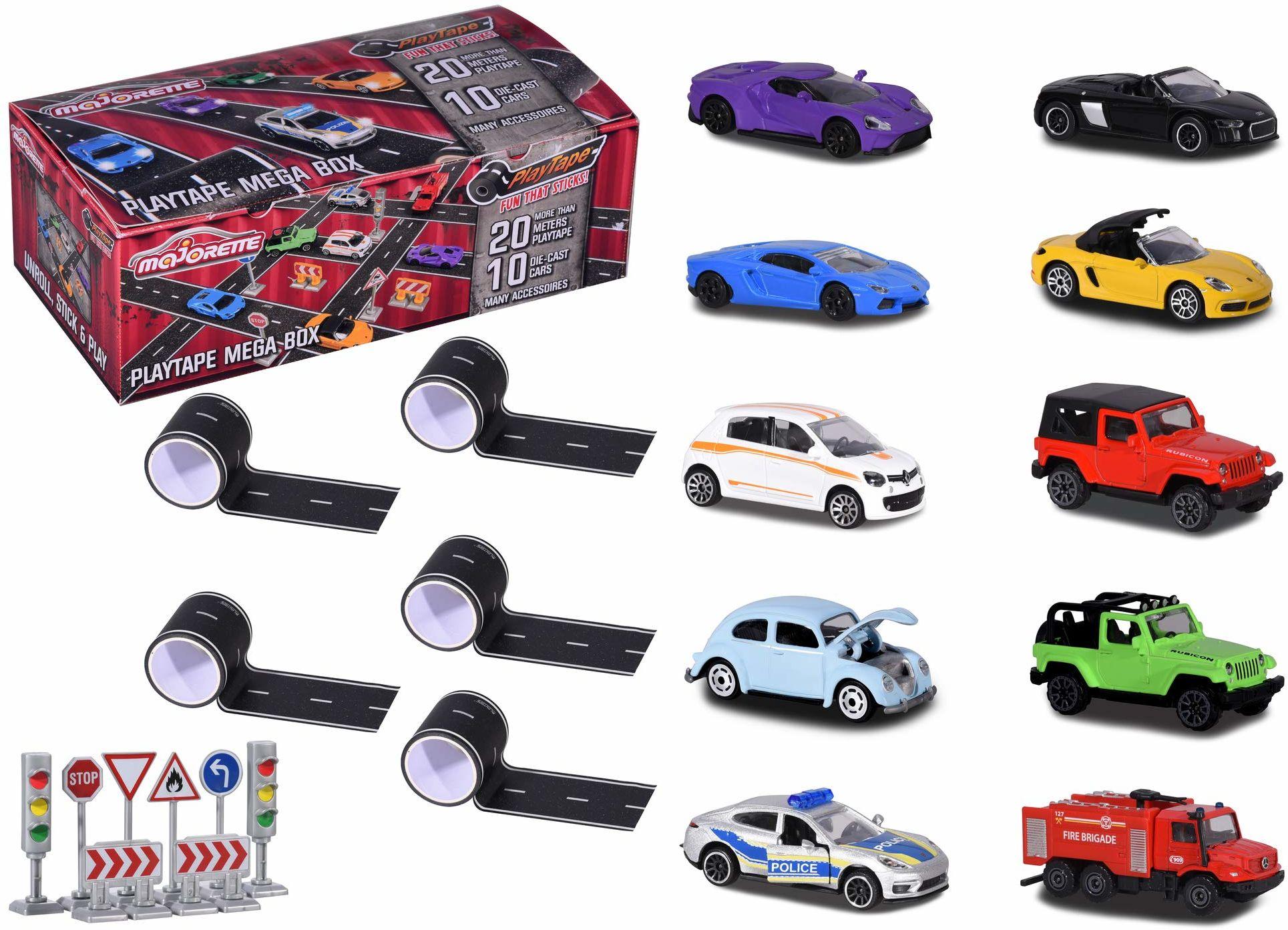 Majorette 212058198 Playtape Mega Box, 5X samoprzylepna taśma uliczna o długości 4,5 m, 10 Die-Cast samochody, w zestawie: 8 znaków drogowych, 1:64, 7,5 cm