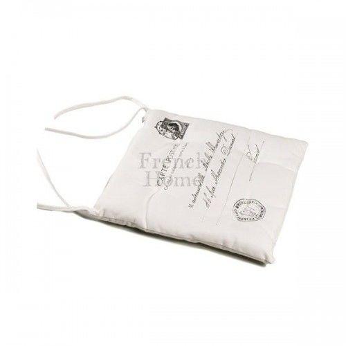 Poduszka na krzesło CARTE POSTALE biała