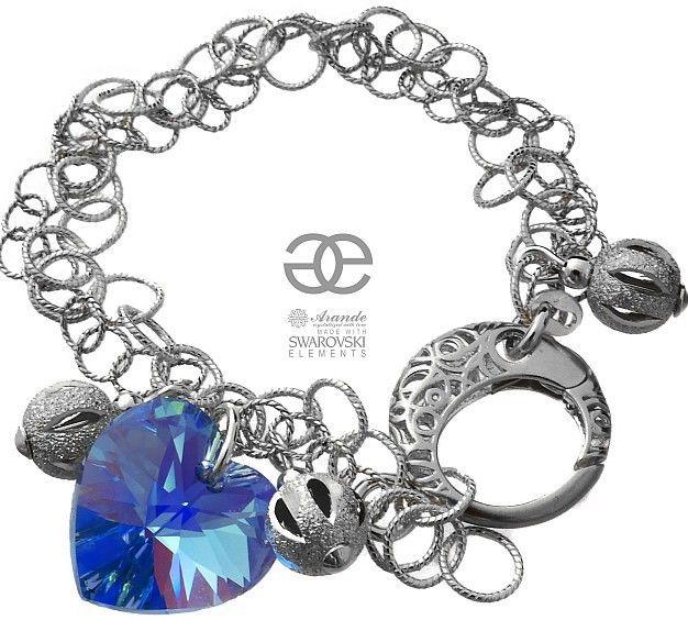 Kryształy piękna bransoletka SAPPHIRE SERCE SREBRO