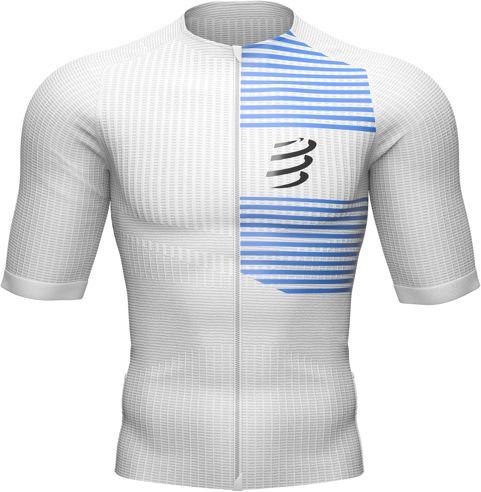 COMPRESSPORT Triathlonowa koszulka kompresyjna TRI POSTURAL SS TOP biało-niebieska
