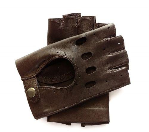 Ciemno brązowe rękawiczki bez palców, całuski