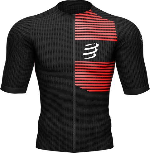 COMPRESSPORT Triathlonowa koszulka kompresyjna TRI POSTURAL SS TOP czarno-czerwona