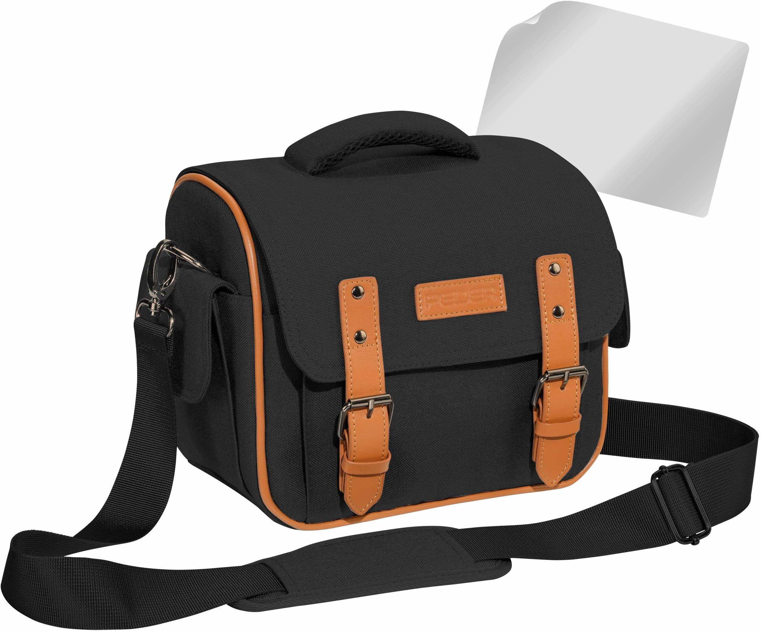 """PEDEA DSLR torba na aparat """"Vintage"""" z folią ochronną na wyświetlacz do Canon EOS 5D Mark II 400D 2000D / Nikon D60 D80 D90 D3100 D3200 D3300 D3400 D5300 D7100 / Pentax K 50 K 500, rozm. XL czarny"""