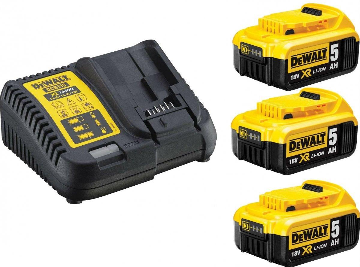 zestaw 3 akumulatorów 18V Li-Ion 5,0Ah + ładowarka, DeWALT [DCB115P3]