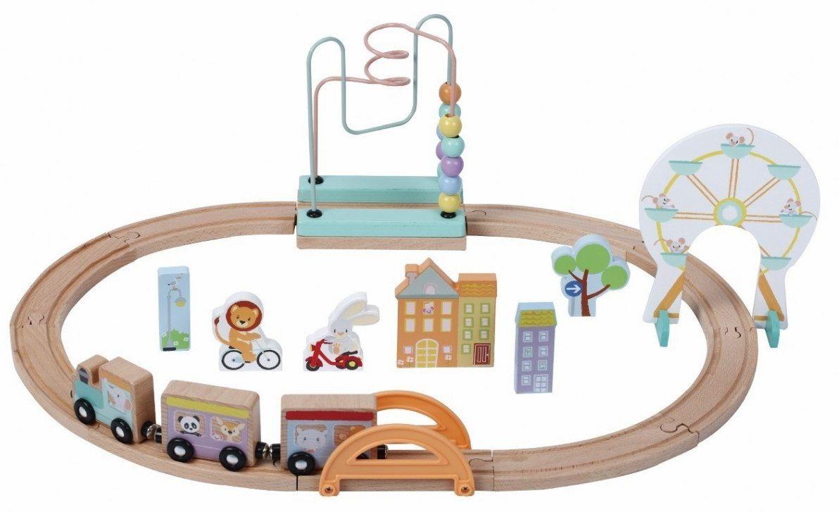 Zabawka drewniana kolejka zestaw