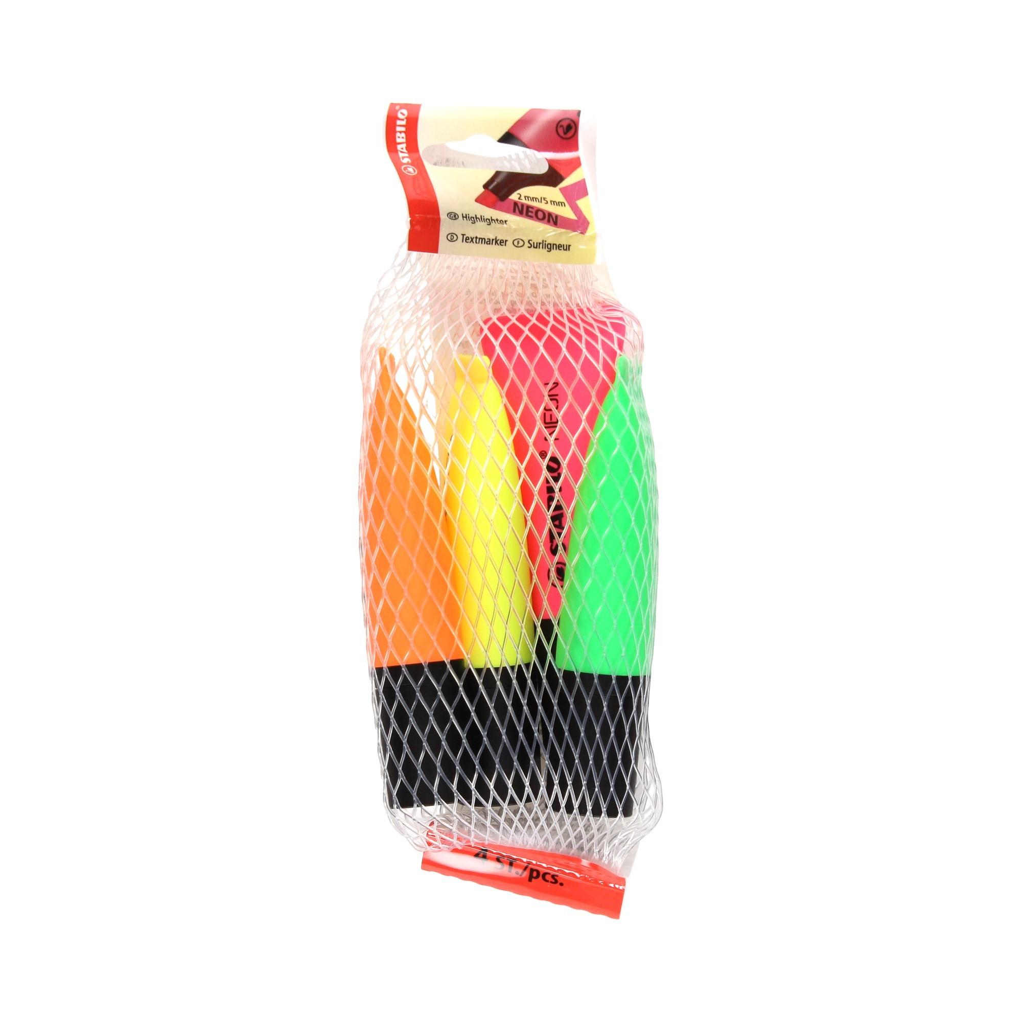 Zakreślacz 4kol żół/zie/pom/róż neon Stabilo 72/4-1
