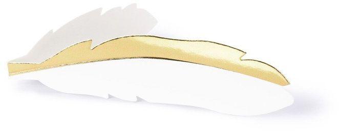 Wizytówki na stół piórko złote 10 sztuk WS16-008-019M