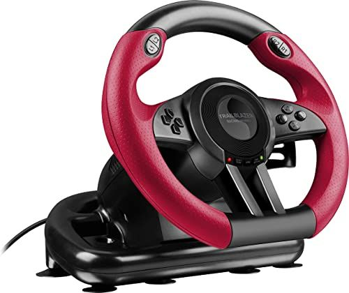 Speedlink TRAILBLAZER Racing Wheel for PlayStation  3, PS4 and PC - ergonomic comfort, vibration effects, gear shifter and rapid-access shifter paddles, highly responsive pedal unit - Black