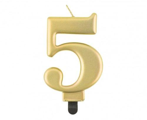 Świeczka na tort cyferka 5, złota metaliczna