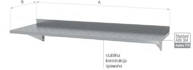 Półka wisząca na konsolach perforowana z dwiema konsolami szer: 600 - 1500mm gł: 400mm