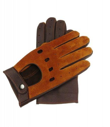 Skórzane rękawiczki samochodowe - koniakowo brązowe