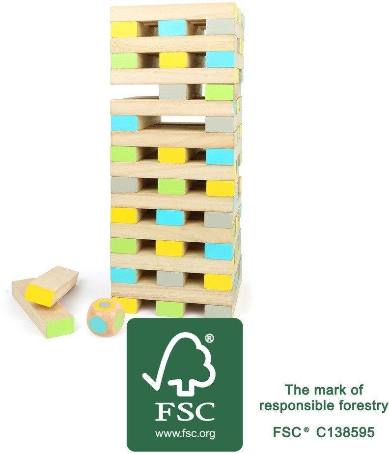 Drewniana Jenga Chwiejna wieża 12027-Small Foot, zręcznościowe gry dla dzieci