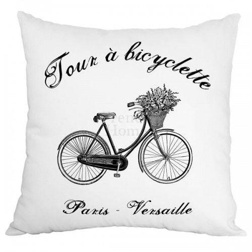 Poduszka dekoracyjna Bicyclette biała