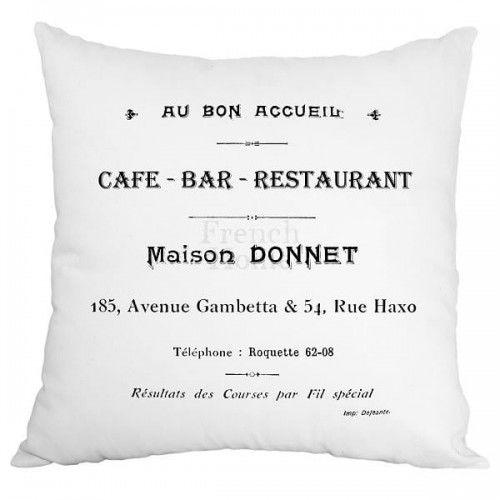 Poduszka dekoracyjna Cafe Bar biała