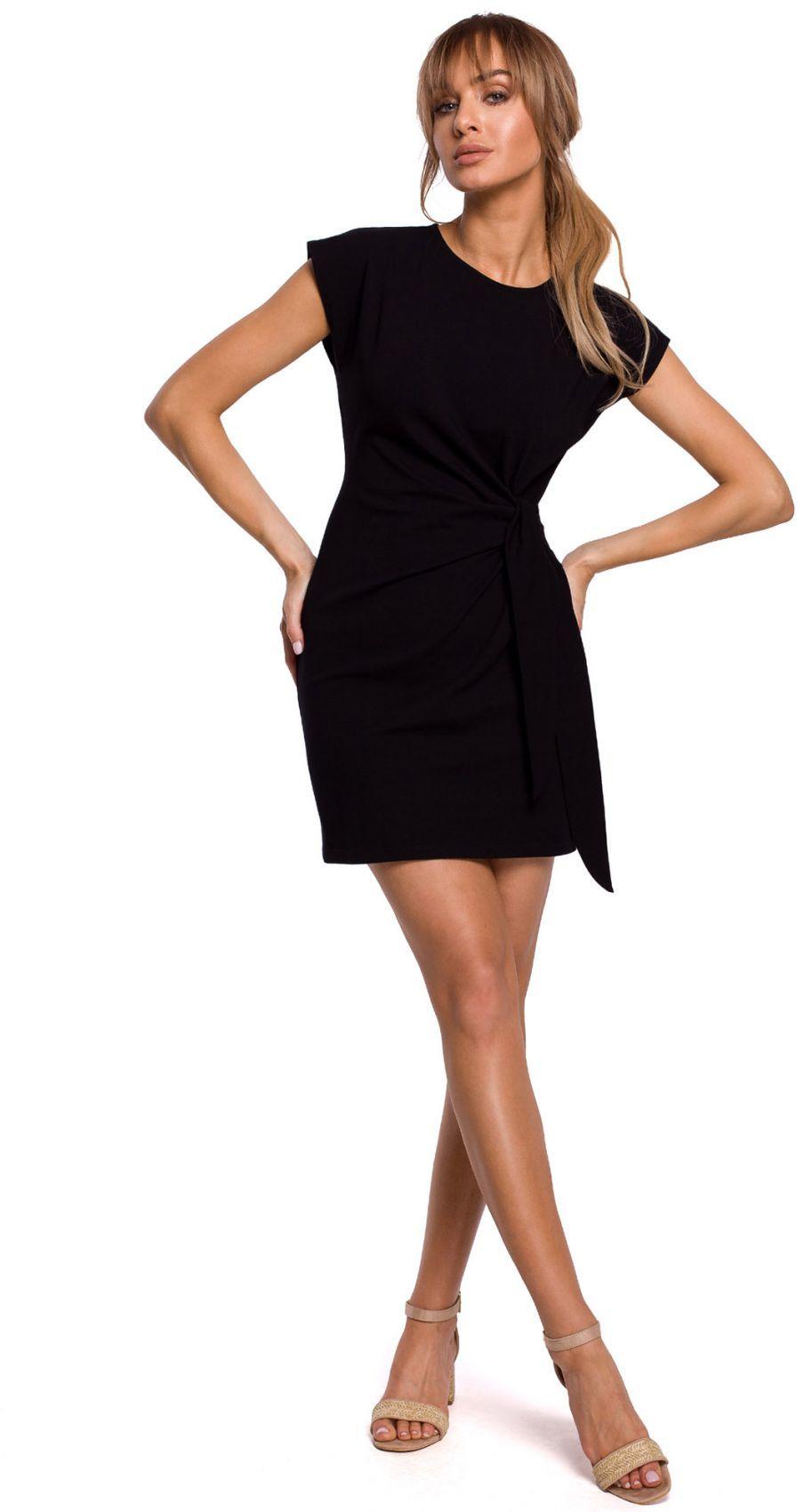 M508 Sukienka z supłem na boku - czarna