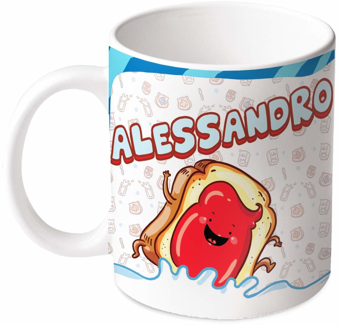 M.M. Group Filiżanka z imieniem i znaczeniem Alessandro, 30 ml, ceramika, wielokolorowa