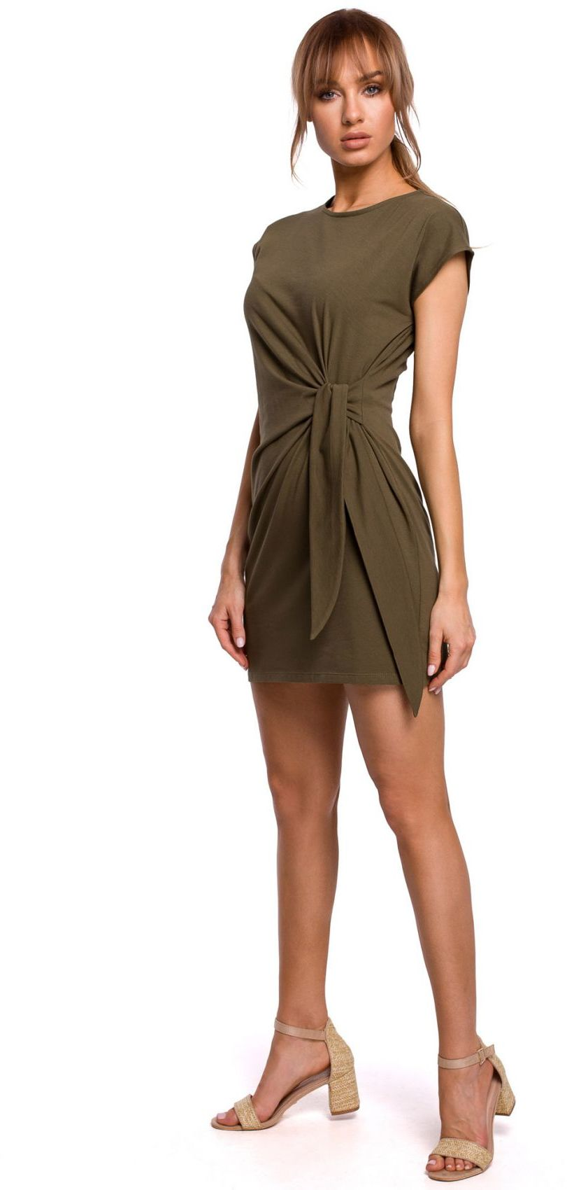 M508 Sukienka z supłem na boku - khaki