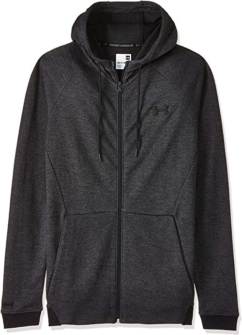 Under Armour Męska Unstoppable 2 x Knit Fz , oddychający kardigan z zamkiem błyskawicznym na całej długości, komfortowa bluza z dopasowanym krojem czarny czarny S
