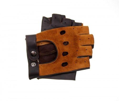 Skórzane rękawiczki bez palców - koniakowo brązowe