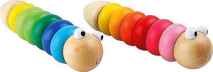 Kolorowy robak konstrukcyjny z drewna, 3924-small foot, zabawki rozwojowe