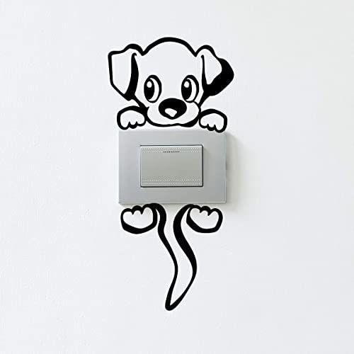 Naklejka włącznik i gniazdko naklejka ścienna pies - tapeta dekoracyjna nieprzepuszczająca światła - 12 x 8 cm - czarna