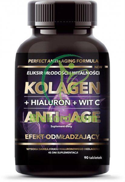 Kolagen Tabletki + Hialuron + Witamina C Anti-age, Intenson, 45g
