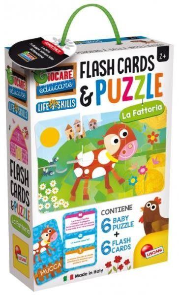 Puzzle dziecięce i karty fiszki Farma