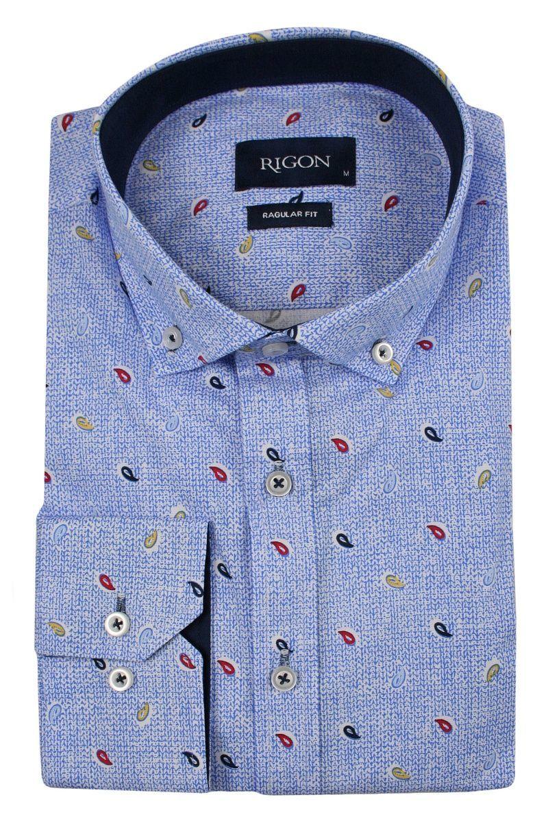 Niebieska Koszula Męska, Wizytowa -RIGON- Krój Prosty, Długi Rękaw, Wzór Paisley KSDWRGN0802nieb