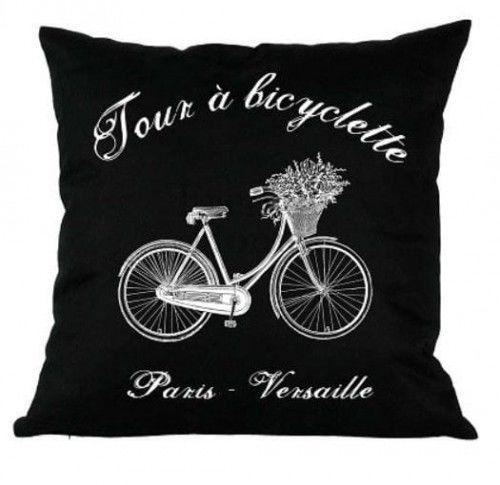 Poduszka dekoracyjna Bicyclette czarna