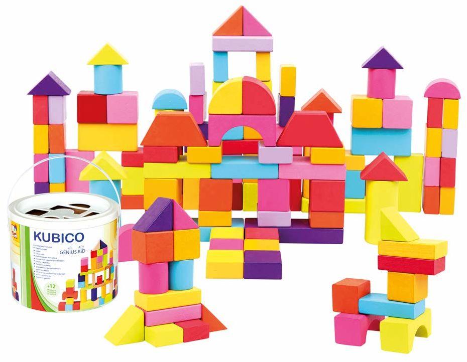 Mertens bęben na klocki z 100 sztukami, zabawki dla dzieci od 1 roku życia (kolorowe i bogate w kształty klocków, w tym 100 sztuk, rozmiar: XL, przykłady kształtów na pokrywie), wielokolorowy