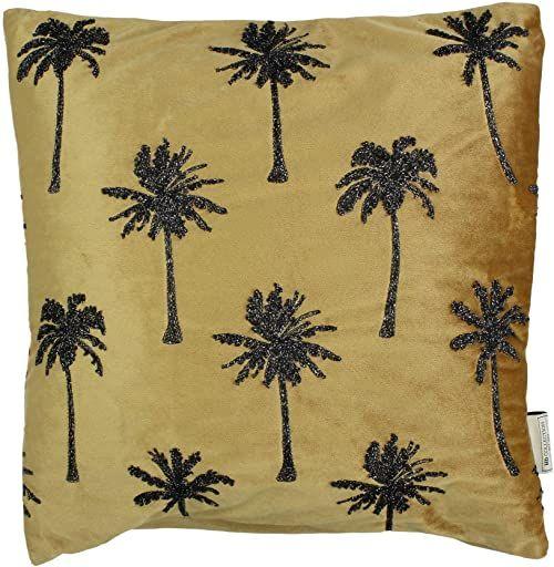 Ozdobna poduszka z wypełnieniem - aksamit - złoty - 45 x 45 cm