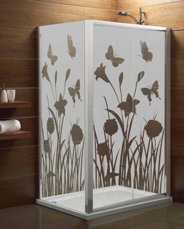 Maskująca naklejka mrożone szkło: Kwiaty i Motyle