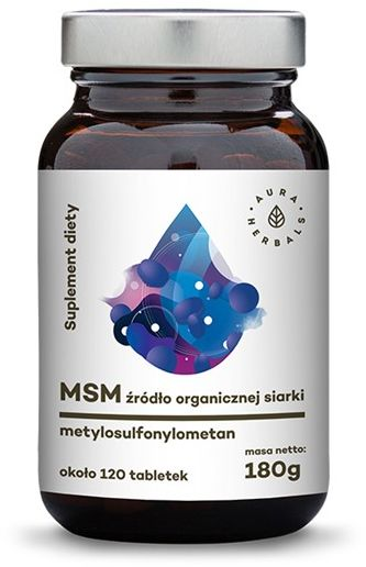 MSM - organiczna siarka - metylosulfonylometan 120 tabletek (180g) Aura Herbals  ok. 60 tabletek