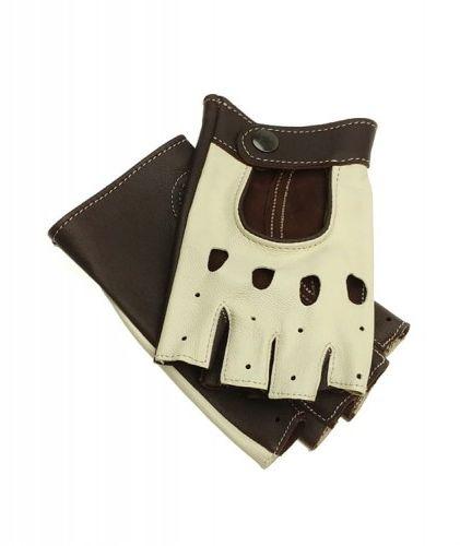 Brązowo-kremowe damskie rękawiczki bez palców, całuski