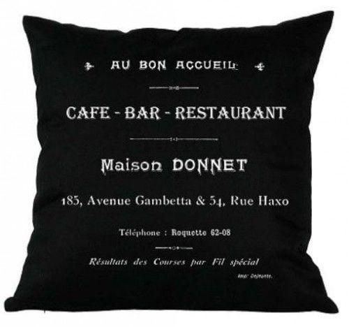 Poduszka dekoracyjna Cafe Bar czarna