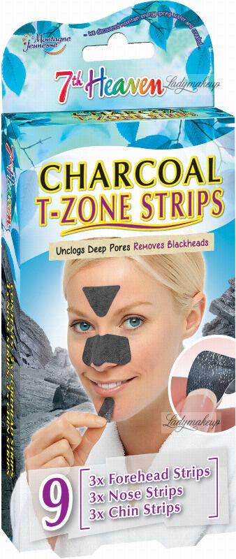7th Heaven (Montagne Jeunesse) - Charcoal T-Zone Strips - Oczyszczające plastry węglowe do strefy T - 9 szt.