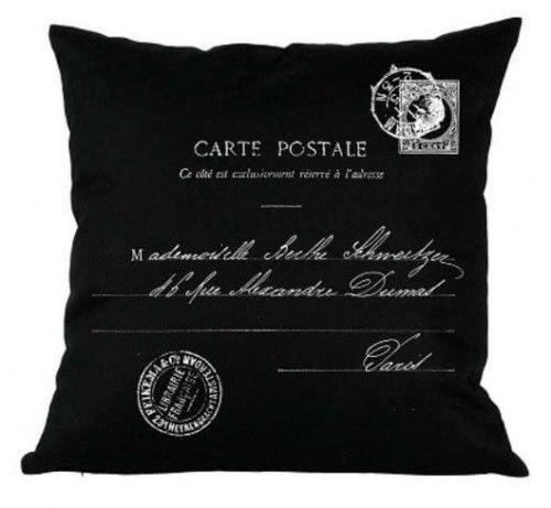 Poduszka dekoracyjna Carte Postale czarna