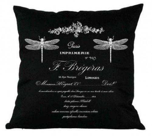 Poduszka dekoracyjna French czarna