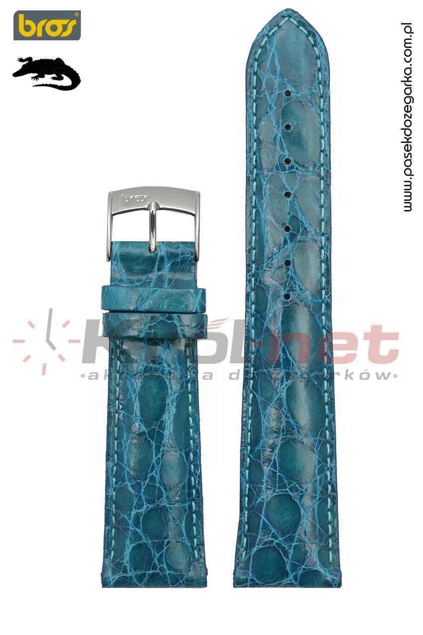 Pasek do zegarka Bros 8130/89/20 - krokodyl, turkusowy