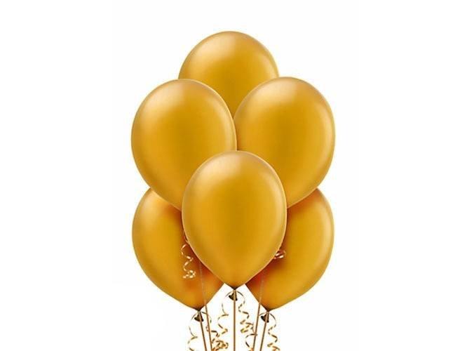 Balony lateksowe metaliczne średnie - złote - 25 szt.
