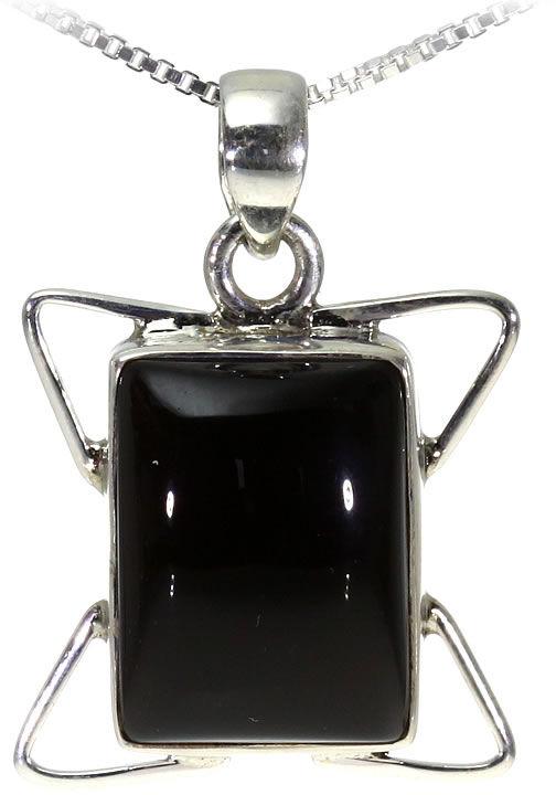 Kuźnia Srebra - Zawieszka srebrna, 26mm, Czarny Onyks, 5g, model