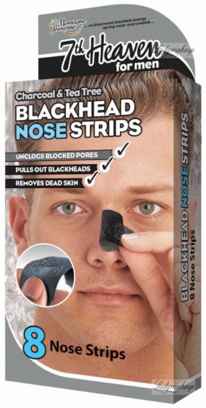 7th Heaven (Montagne Jeunesse) - Charcoal & Tea Tree Blackhead Nose Strips - Oczyszczające plastry na nos dla mężczyzn - 8 szt.