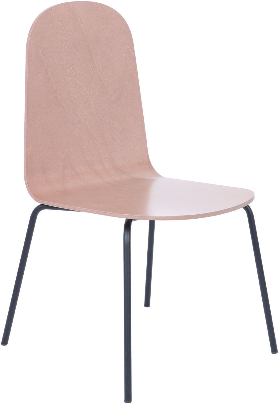 Krzesło Malmo steel wood, drewniane, na metalowych nóżkach, proste, w stylu skandynawskim
