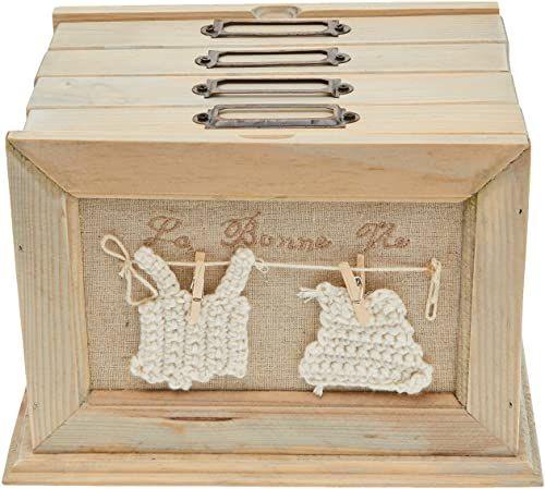 Better & Best Box ramka na zdjęcia z 4 szufladami z motywem garniturów, drewno i bawełna, beżowa, 20 x 15,5 x 13,8 cm