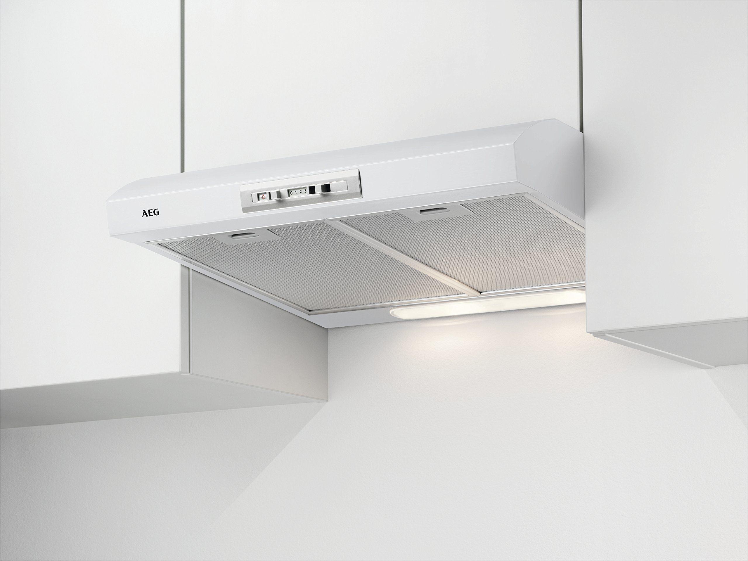 AEG DUB2610W okap kuchenny podszafkowy/powietrze wylotowe lub obieg / 60 cm/biały/maks. 71 m /h/min. 63  maks. 69 dB (A) / D/przełącznik suwakowy